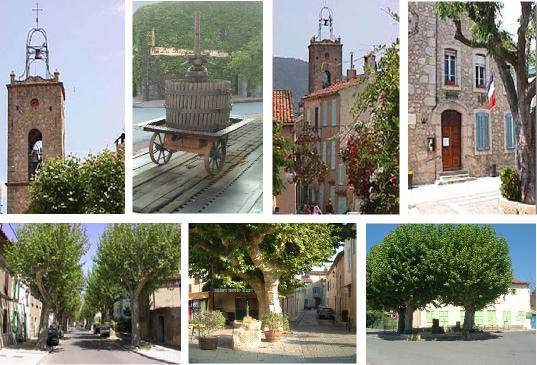 Various images of Plan de Tour. Old church bell tower, grape press on weighbridge, cobbled street, treelined avenue, the creperie and green shuttered building.